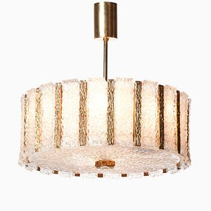 Mid-Century Nine-Light Gilt Brass & Frosted Glass Chandelier from Kalmar