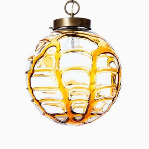 Suspension Mid-Century Jaune en Verre