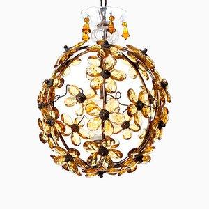 Lampada a sospensione vintage in cristallo ambrato e ottone