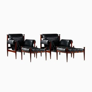 Scandinavian Amiral Leather and Rosewood Lounges Chairs with Ottomans by Eric Merthen for Ire, 1964