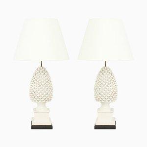 Lámparas de mesa en forma de poñas de cerámica, años 70. Juego de 2