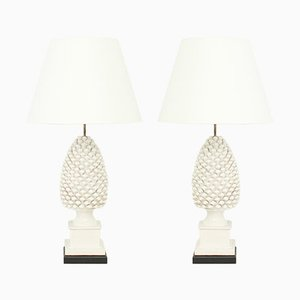 Pineapple Ceramic Table Lamps, 1970s, Set of 2