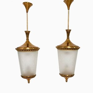 Italian Etched Glass & Brass Pendants, 1950s, Set of 2
