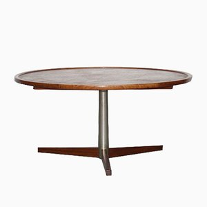 Table Basse Vintage Ronde en Teck et en Métal par Martin Visser pour 't Spectrum