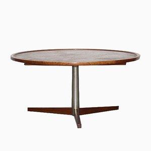 Tavolino da caffè rotondo vintage in teak e metallo di Martin Visser per 't Spectrum