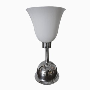 Art Deco German Chrome and Glass Table Lamp