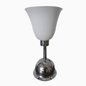 Lámpara de mesa alemana Art Déco de cromo y vidrio