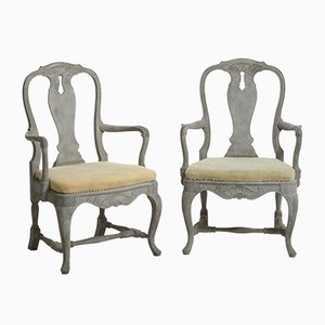 Antique Swedish Rococo Style Armchairs, Set of 2