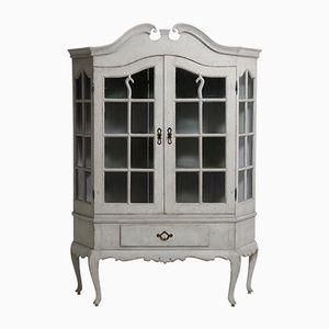 Scandinavian Rococo Style Two-Part Vitrine Cabinet, 1830s