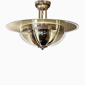 Lámpara de araña francesa Art Déco niquelada, años 30