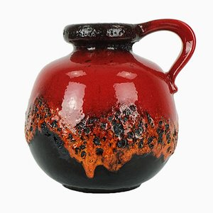 Jarrón Fat Lava en negro y rojo de Scheurich, años 60