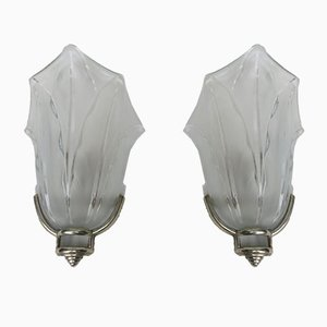 French Art Deco Wall Lights from Ezan, Set of 2