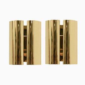 Scandinavian Brass Wall Lights from Falkenbergs, 1980s, Set of 2