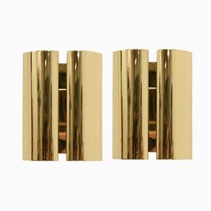 Scandinavian Brass Wall Lights from Falkenbergs, 1980s, Set of 2
