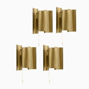 Brass Wall Lights by Sven Ivar Dysthe for Høvik Verk, 1960s, Set of 4
