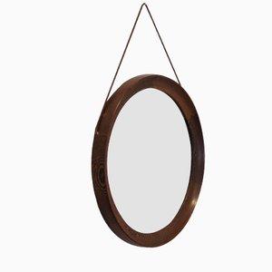 Specchio circolare in wengé di Uno & Osten Kristiansson per Luxus, anni '60