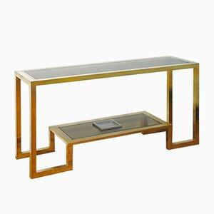 Consola grande de acero cromado y latón dorado de Vistosi, años 60