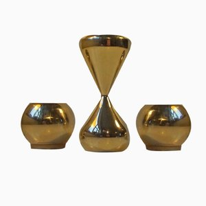 Gold-Plated Candlestick Holders by Hugo Asmussen, 1960s, Set of 3
