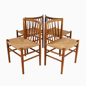 Scandinavian Dining Chairs in Oak and Paper Cord by Jørgen Bækmark, Set of 4