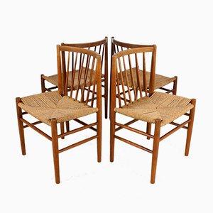 Skandinavische Esszimmerstühle aus Eichenholz und Papierkordel von Jørgen Bækmark, 4er Set