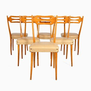 Italian Dining Chairs in Polished Maple Wood, Set of 6