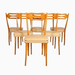 Italienische Esszimmerstühle aus Poliertem Ahornholz, 6er Set