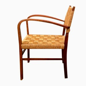 Dänischer Armlehnstuhl aus Gebeiztem Holz & Seegras von Magnus Stephensen für Fritz Hansen, 1930er