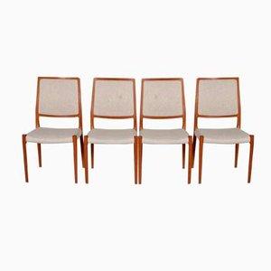 Sedie in teak e tessuto di Niels Otto Møller per J.L. Møllers, anni '60, set di 4