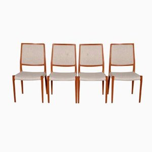 Stühle aus Teakholz & Stoff von Niels Otto Møller für J.L. Møllers, 1960er, 4er Set