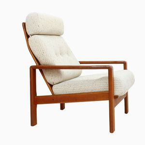 Danish Teak Armchair with Wool Upholstery, 1960s