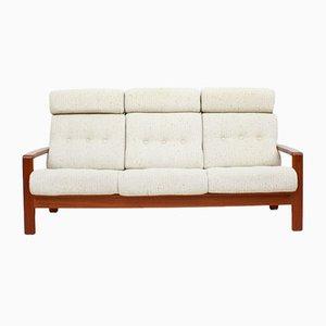 Sofá de 3 plazas danés de teca con tapicería de lana, años 60