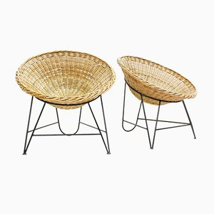 Handwoven Wicker Lounge Chairs, Set of 2