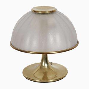 Lampada da tavolo in ottone dorato e vetro, Italia, anni '70
