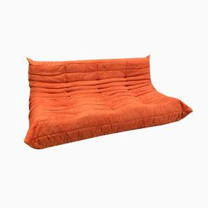 Togo Drei-Sitzer Sofa mit Orangenfarbenem Mikrofaser Bezug von Michel Ducaroy für Ligne Roset, 1970er