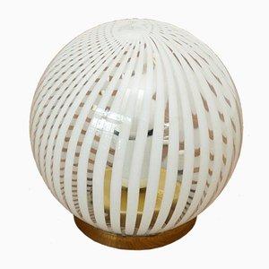 Lámpara de mesa de cristal de Murano y latón, años 70
