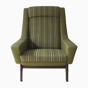 Mid-Century Danish Green Fabric Armchair, 1960s