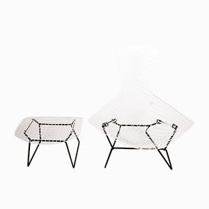 Bird Chair and Ottoman by Harry Bertoia for Knoll, 1970s