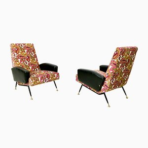Italian Velvet and Skai Armchairs, 1950s, Set of 2