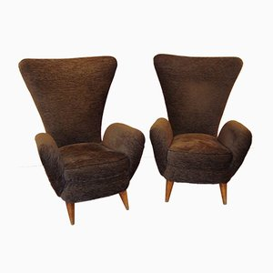 Italian Brown Velvet & Oak Armchairs, 1950s, Set of 2