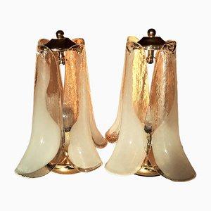 Vintage Murano Glas Tischlampen in Blüten Optik von Mazzega, 2er Set