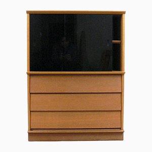 Mobile in legno e vetro con anta in vetro nero e cassetti di Didier Rozaffy per Oscar, anni '50