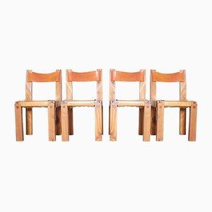 Stühle aus Eschenholz & Leder von Pierre Chapo, 1960er, 4er Set