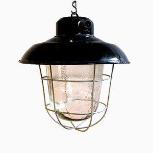 Lámpara colgante industrial Mid-Century esmaltada