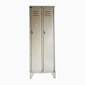 Mid-Century Industrial Riveted Locker in Cream