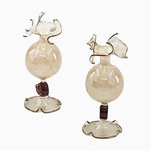 Jarrones de cristal de Murano, años 50. Juego de 2