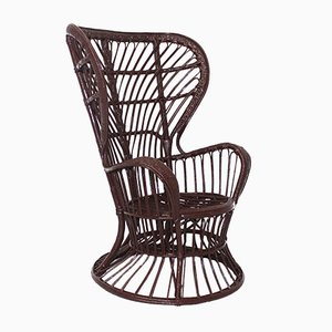 Italian Rattan Peacock Chair by Lio Carminati