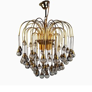 Murano Dark Crystal Waterfall Chandelier by Paolo Venini, 1960s