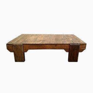 Mesa de centro industrial vintage de madera