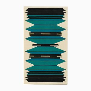 Danish Dark Blue and Turquoise Handwoven Tapestry by Mette Birckner, 1980s