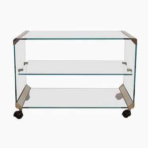 Serving Trolley in Glass from Galotti & Radice, 1980s